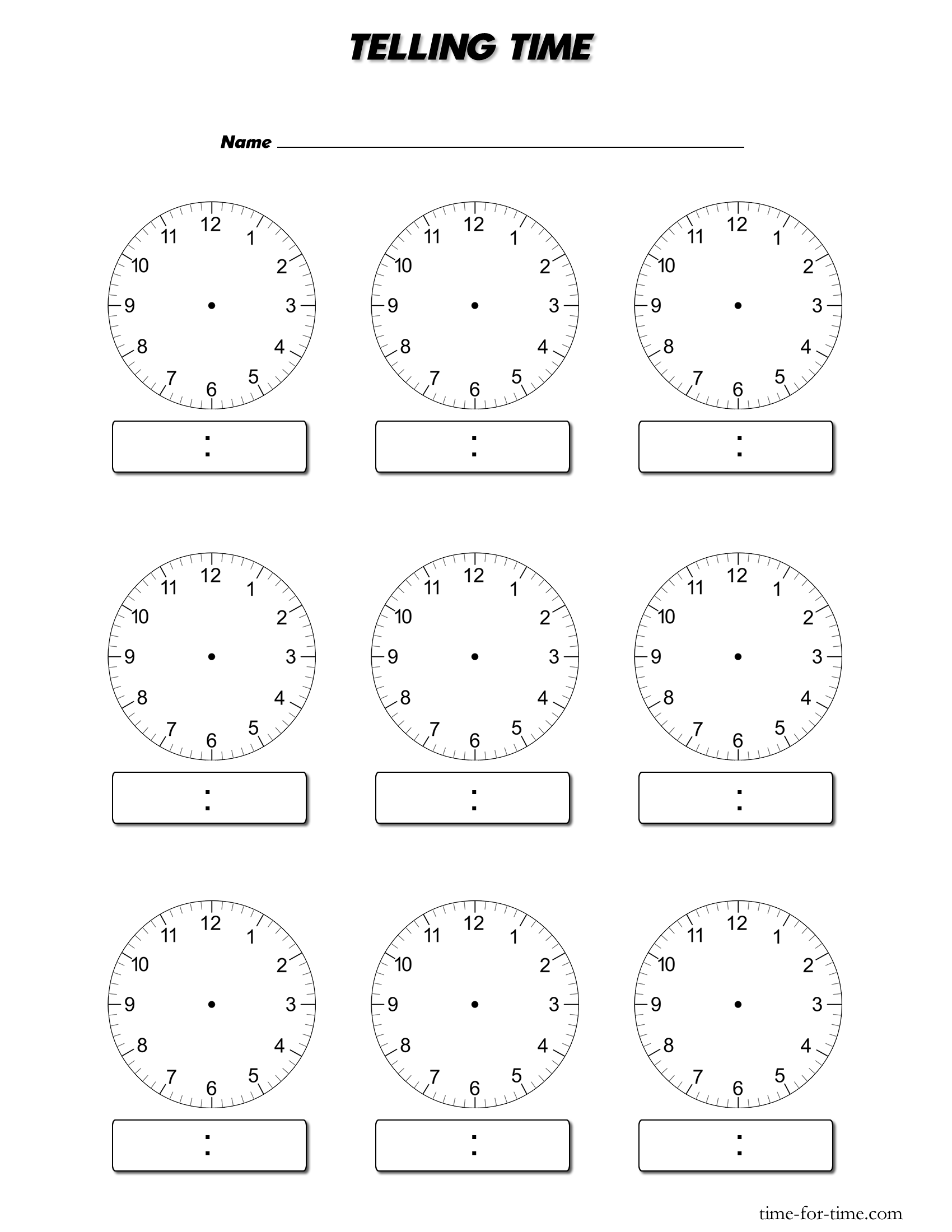 Clock faces for use in learning to tell the time.